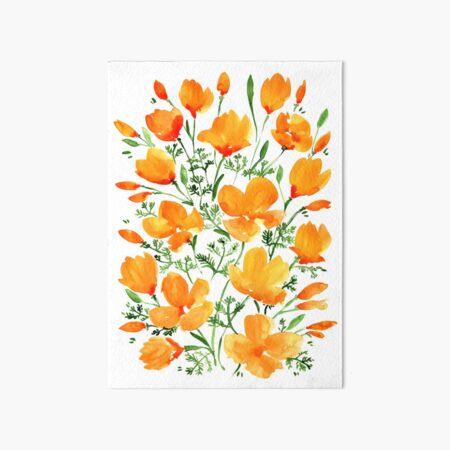 Watercolor California poppies Art Board Print