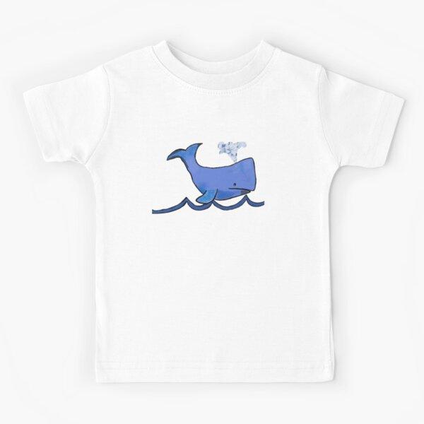 Big Blue Whale on a Big Blue Wave Kids T-Shirt