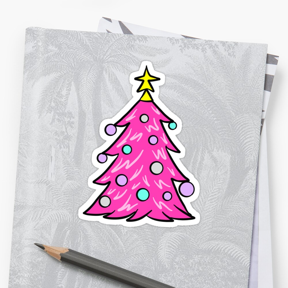 Pink Christmas Tree Sticker