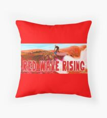 Red Wave Rising Throw Pillow