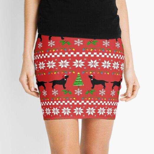 Black Labrador Happy Christmas Sweater Pattern  Mini Skirt