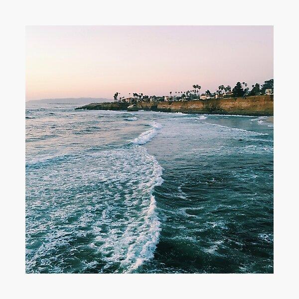 Cliffside Blue Ocean Wave Views Photographic Print