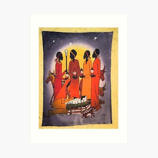 African Christmas Nativity Scene Art Print