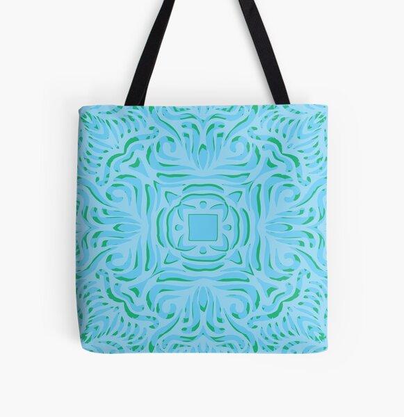 Sea Breeze Swirly Mandala All Over Print Tote Bag