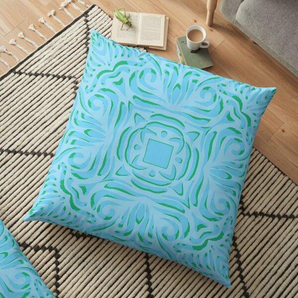 Sea Breeze Swirly Mandala Floor Pillow