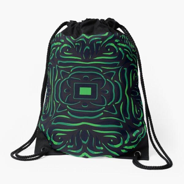 Black & Green Swirly Mandala Drawstring Bag