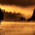 Loch Ard, morning light and mist.. by David Mould