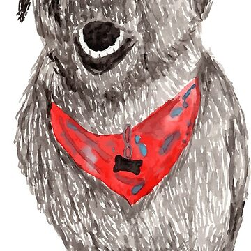 Black Dog Watercolor by hintofmint