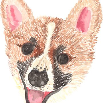 Watercolor Corgi by hintofmint