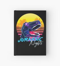 JURASSIC NIGHTS - Miami Vice Vapor Synthwave T-Rex Hardcover Journal