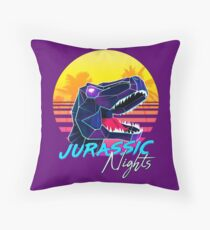 JURASSIC NIGHTS - Miami Vice Vapor Synthwave T-Rex Throw Pillow