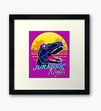JURASSIC NIGHTS - Miami Vice Vapor Synthwave T-Rex Framed Print