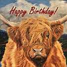 Highland Cow in Early Snow Birthday Card by EuniceWilkie