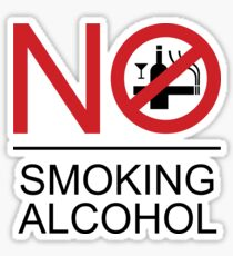 NO Smoking Alcohol Sign Sticker