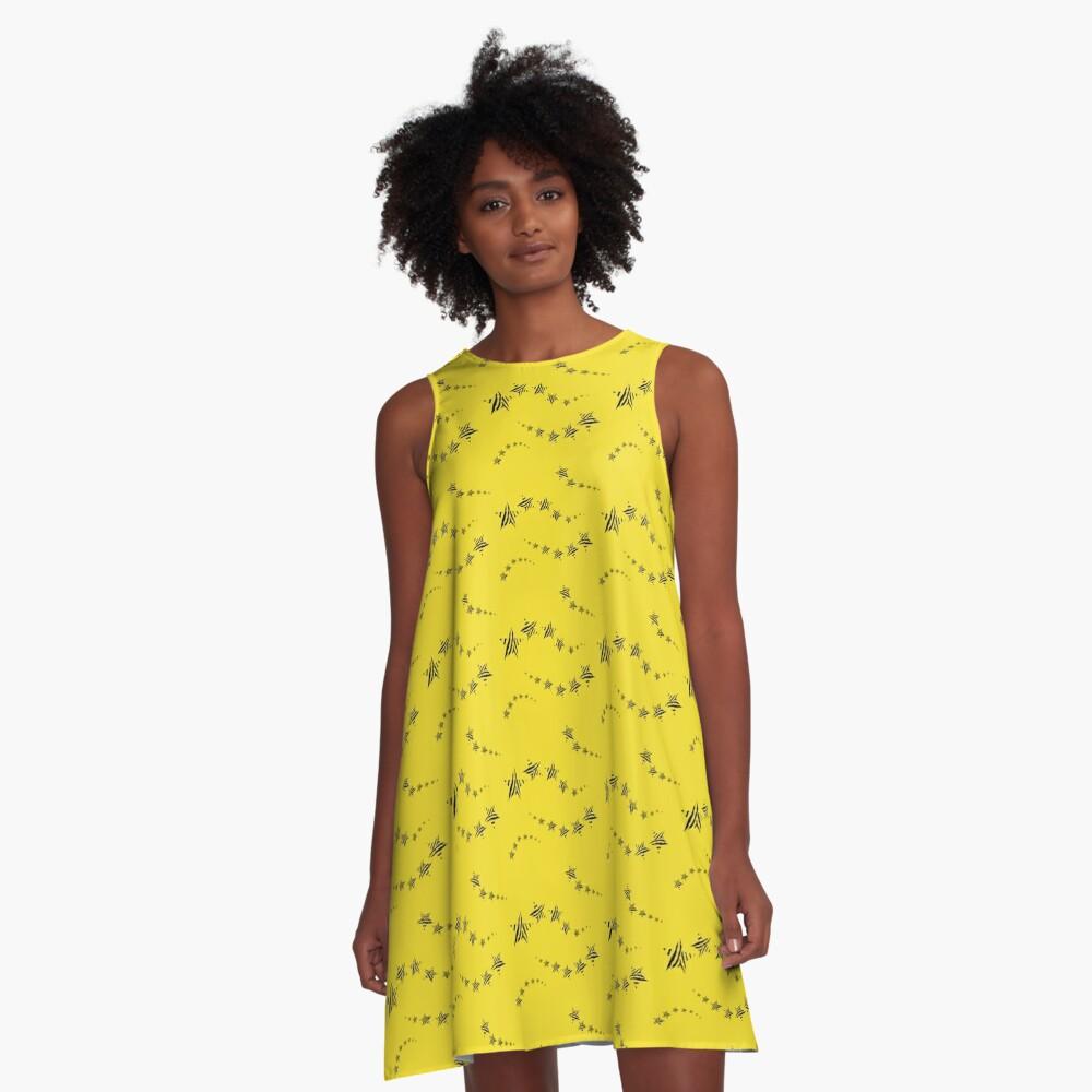Lemon shooting stars A-Line Dress Front