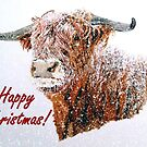 Snowy Highland Cow in Falling Snow Christmas Card by EuniceWilkie