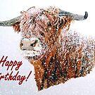 Snowy Highland Cow in Falling Snow Birthday Card by EuniceWilkie