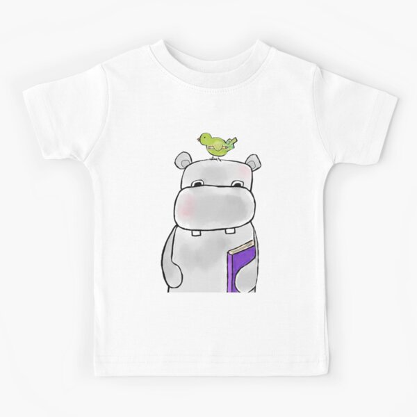 Hippo with Book and One Bird Kids T-Shirt