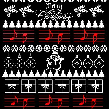 Music Ugly Christmas Sweater Musical Notes by customshirtgirl
