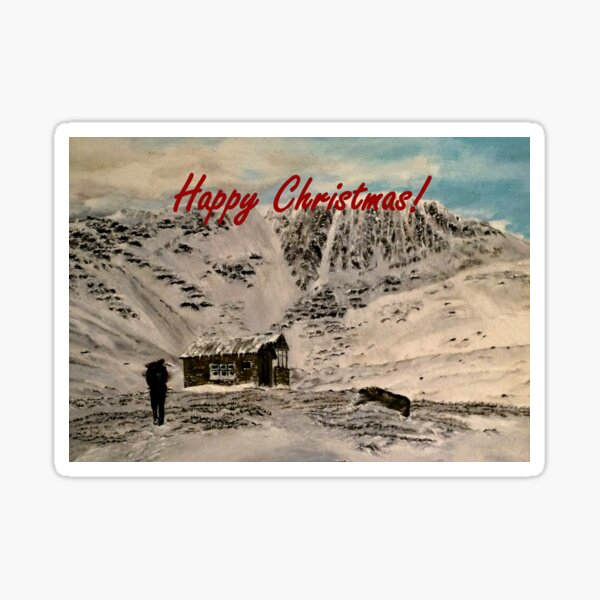 Scottish Highlands Christmas Card Sticker