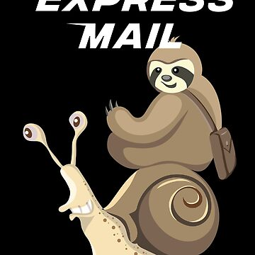 Sloth Postman Riding Snail Express Mail by javaneka