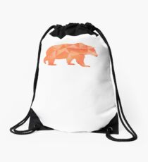 I Love Bears Orange Geometric Grizzly Black Brown Polar Cub Drawstring Bag
