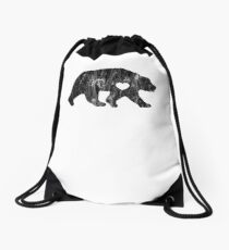 I Love Bears Black Grizzly Brown Polar Cub Drawstring Bag