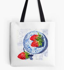 Three Strawberries and Blue porcelain Tote Bag