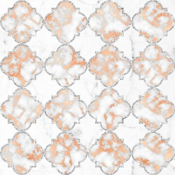 Silver and Rose Gold Marble Arabesque Pattern by Glimmersmith