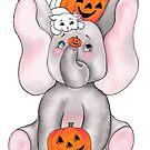 Elephants Love Pumpkins by redqueenself