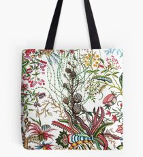 Design created by Stephen Bowers after late 18th-century water-colour and block prints of fleurs tropicales et palmiers for toile de Jouy Tote Bag