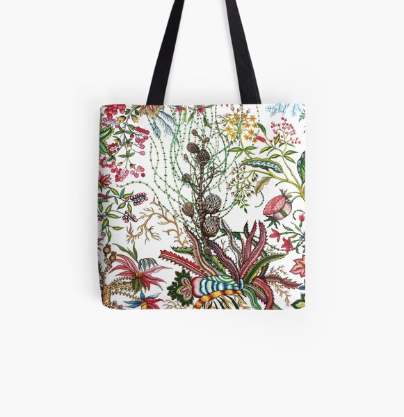Design created by Stephen Bowers after late 18th-century water-colour and block prints of fleurs tropicales et palmiers for toile de Jouy All Over Print Tote Bag