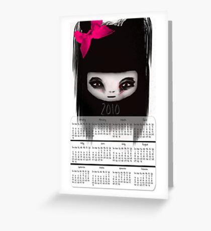 Little Scary Doll Wall Calendar Greeting Card