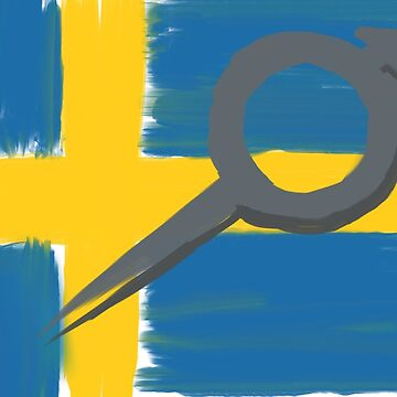 painted Volvo logo over Swedish Flag by Stinky1138