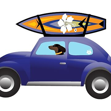 Dachshund Driving a Cute Car with a Surfboard on Top by TriPodDogDesign