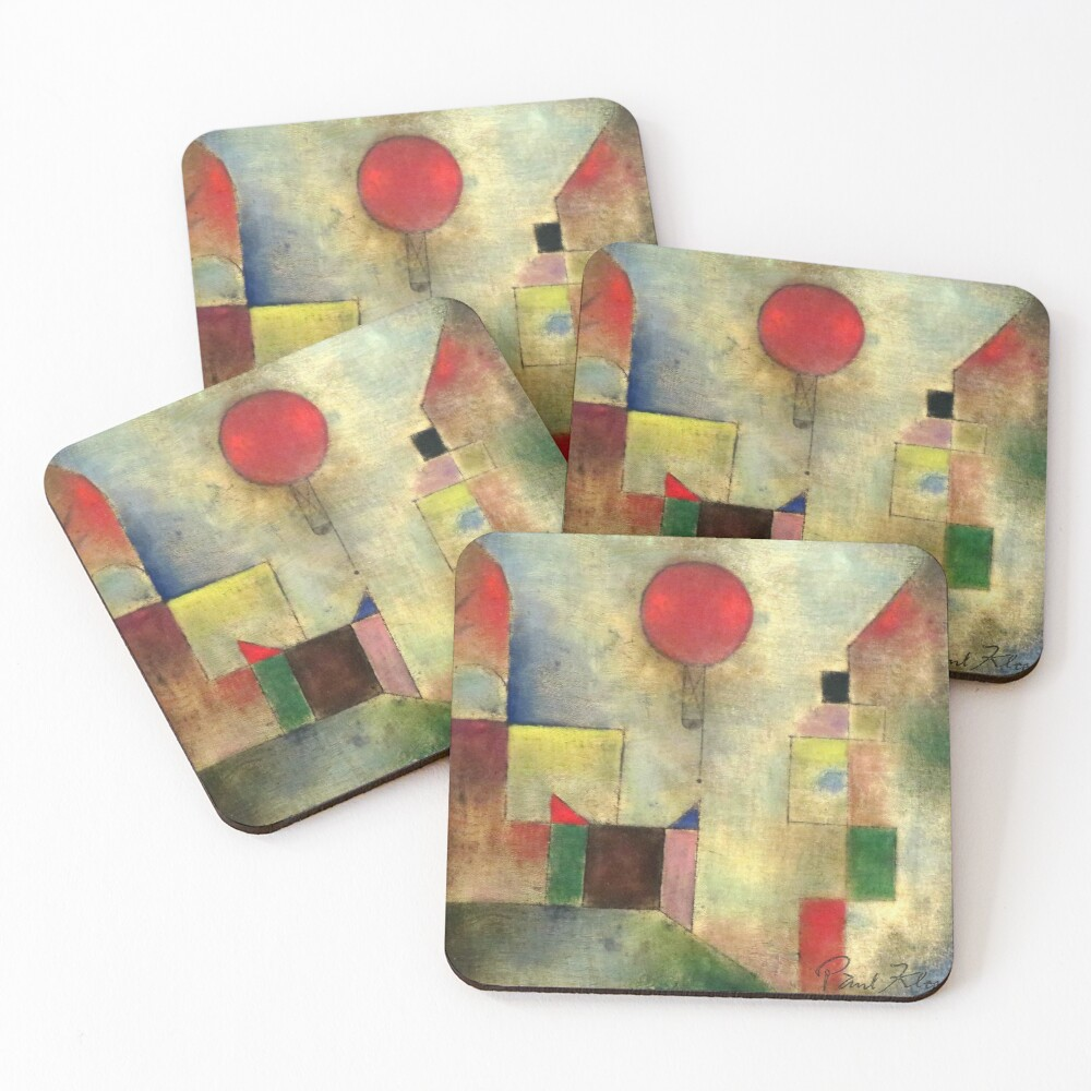 Paul Klee   Red Balloon   Klee-inspired Fine Art w/ Signature Coasters (Set of 4)