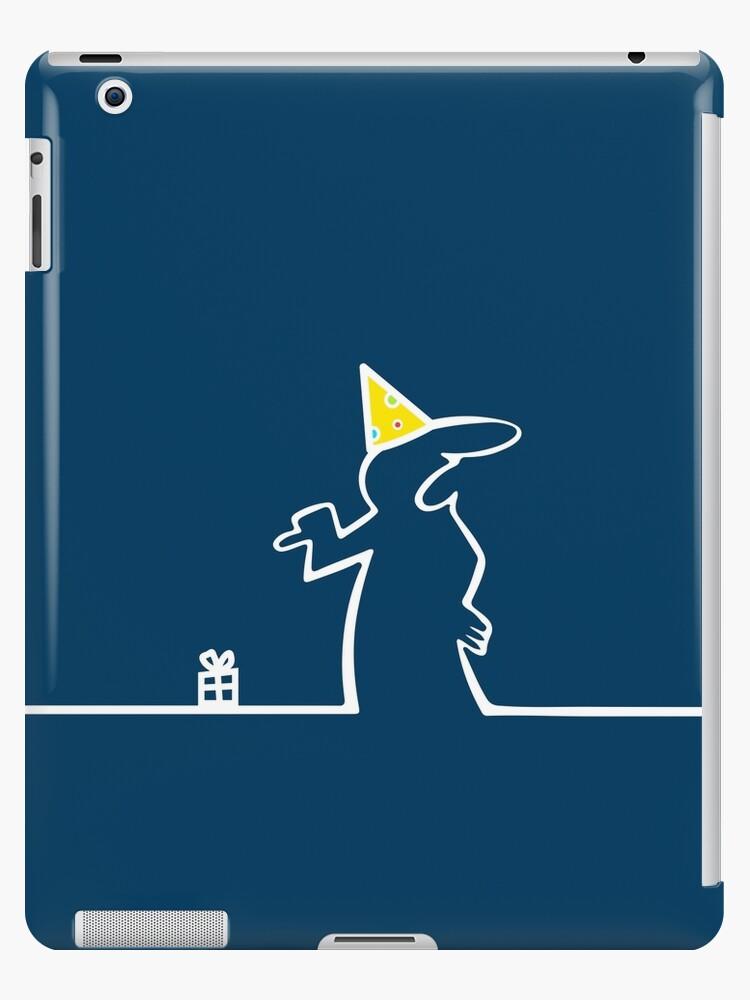 La Linea Happy Birthday Card Parody Pointing At Tiny Gift Box Funny Comic White Line On