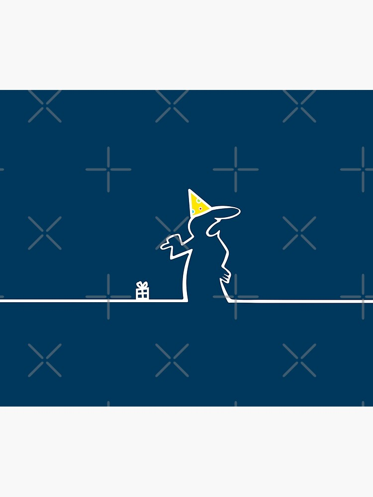 La Linea Happy Birthday Card parody pointing at tiny gift box funny comic white line on blue background 80s Italian Cartoon by iresist