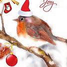 Joy - Christmas robin  by aquaarte