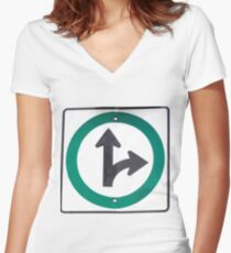 Right turn Women's Fitted V-Neck T-Shirt