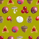 Woodland Winter Berry Print In Fern Green by Evvie Marin