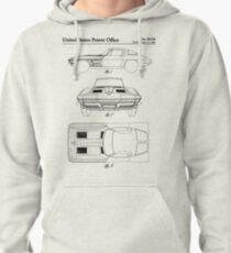 Corvette Stingray Patent - Classic Corvette Art - Black And White Pullover Hoodie