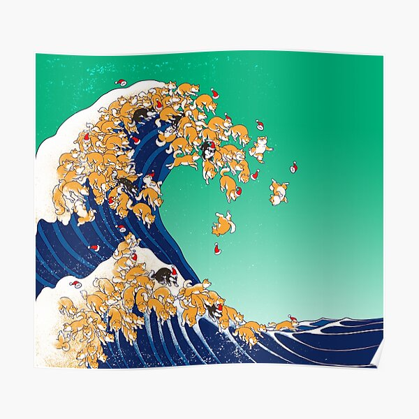 Christmas Shiba Inu in Great Wave Poster