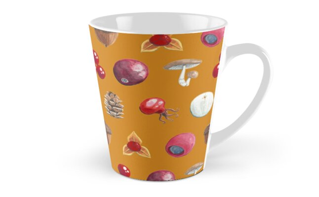 Woodland Winter Berry Print In Caramel by Evvie Marin