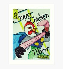 Super Chicken vs Worm Art Print