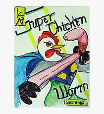 Super Chicken vs Worm Photographic Print
