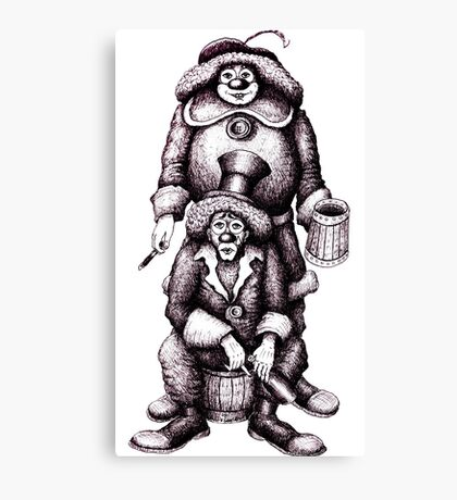 Clowns black and white pen ink drawing Canvas Print