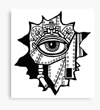 Surreal cyborg black and white pen ink drawing Canvas Print
