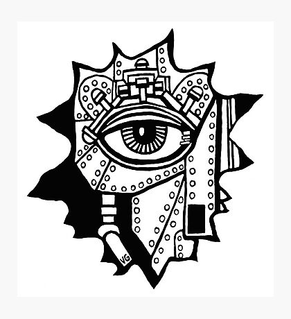 Surreal cyborg black and white pen ink drawing Photographic Print