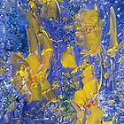 Abstract Yellow on Blue K by kaleidimo